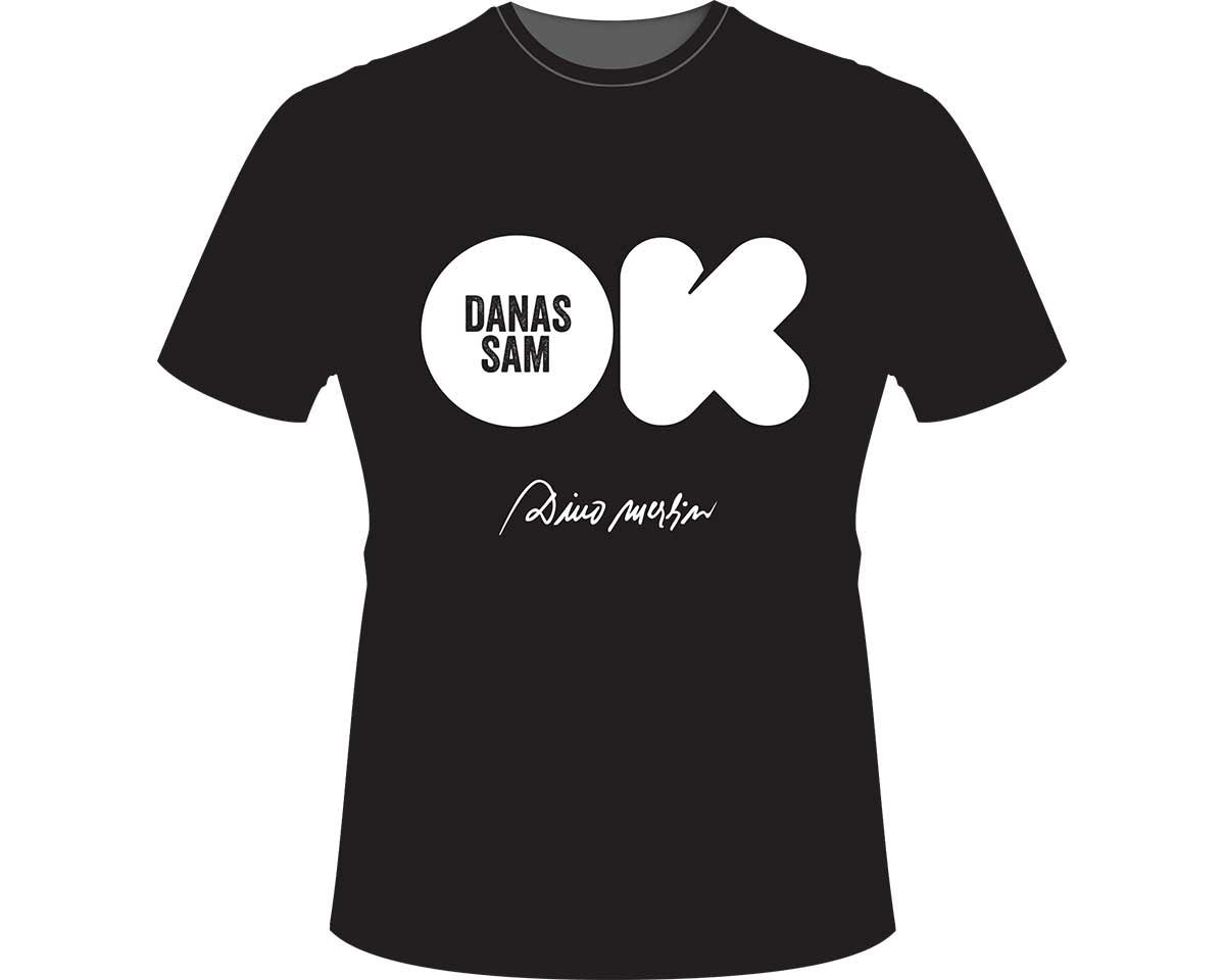 Crna majica sa štampom: Danas sam OK, Dino Merlin