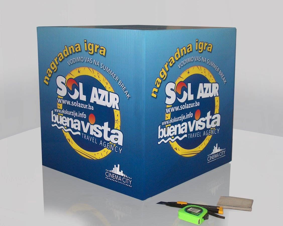 Kartonska kutija za izvlačenje dobitnika u SOL AZUR nagradnoj igri. Štampa u punom koloru