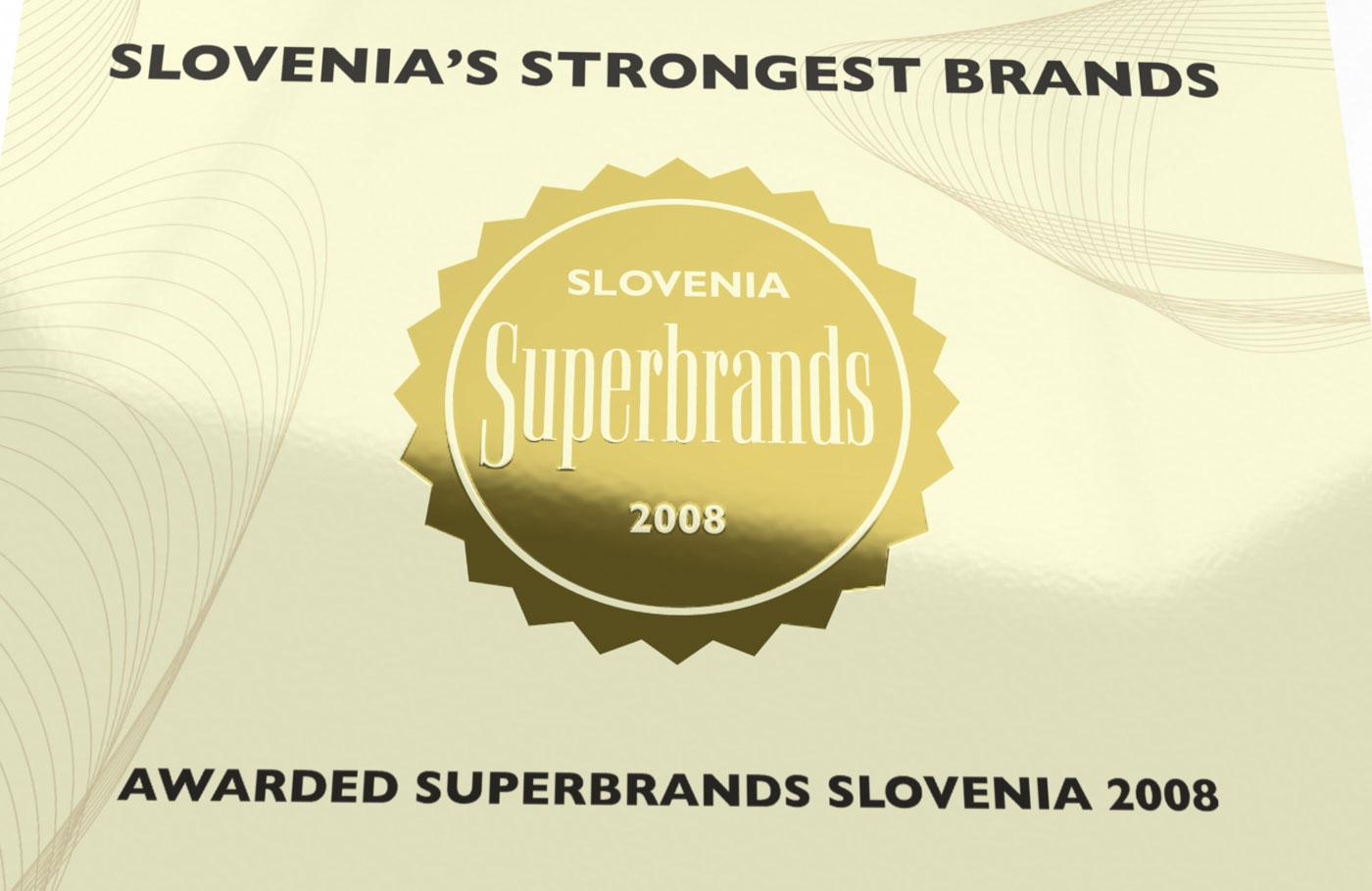 Diploma sa zlatotiskom. Superbrands Slovenia
